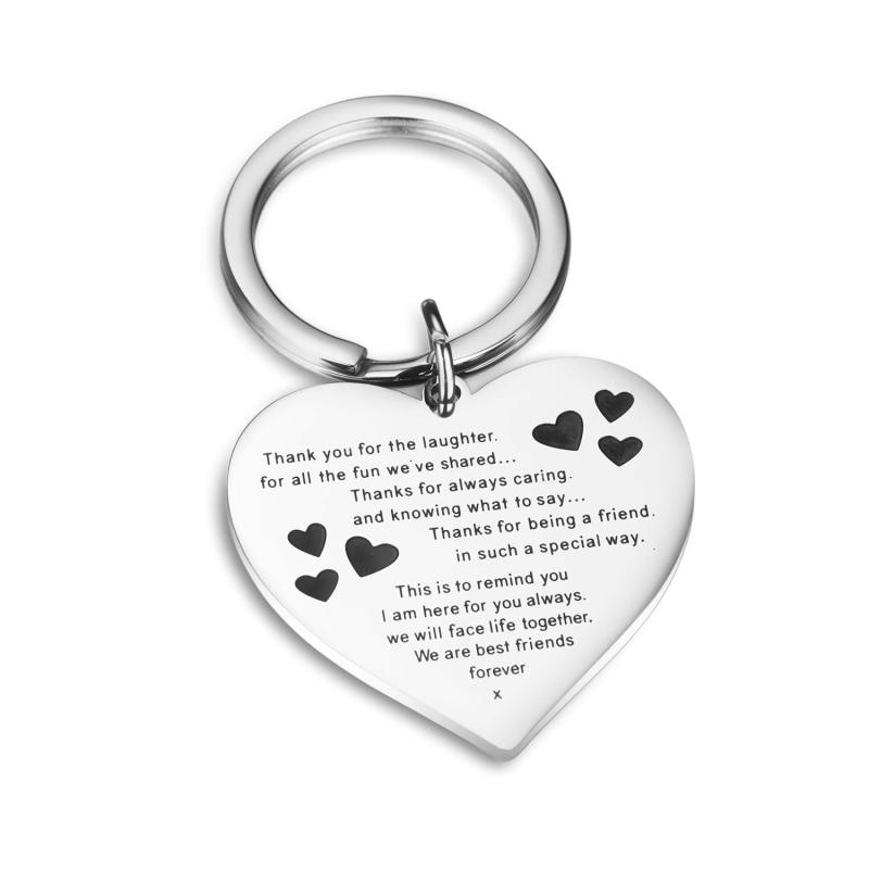 Personalized Jewelry Beautiful Butterfly Hearts Stainless Steel Friendship Key Chain For Your Best Friends Key Ring Accessories