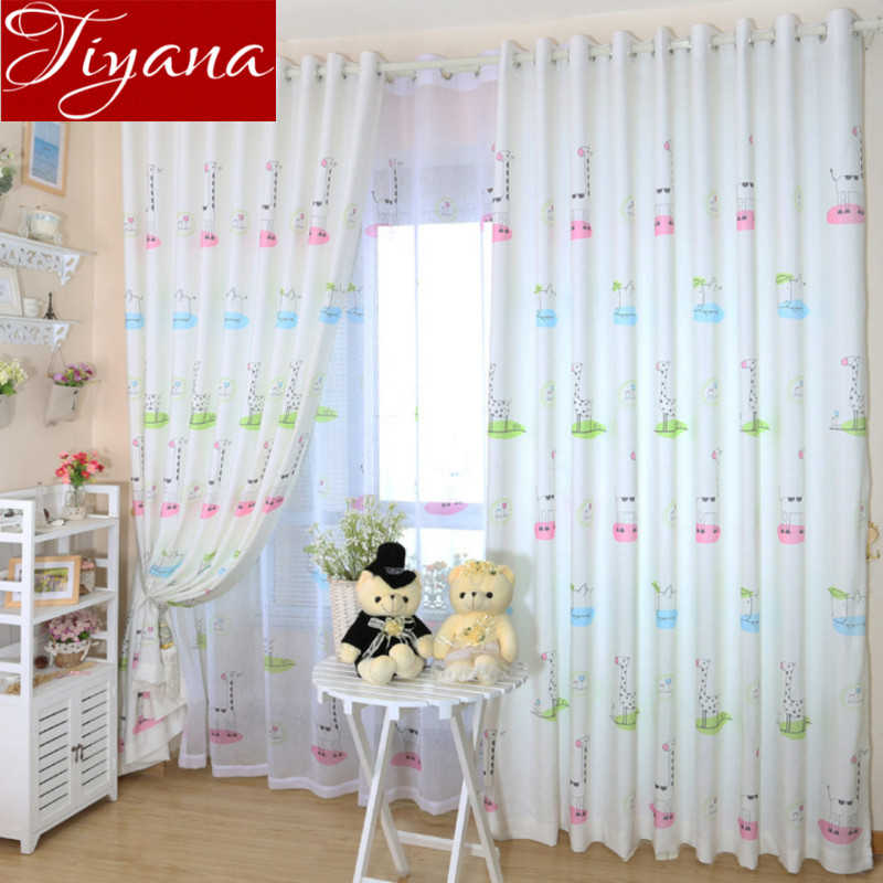 cortinas de la jirafa impresa blanca pura voile ventana de la historieta moderna sala nios habitacin