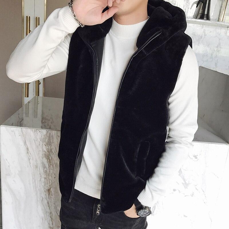 De los nuevos hombres de chaleco sin mangas de piel de conejo de invierno juventud social tipo chaleco engrosada capa de la chaqueta con capucha de algodón de los hombres