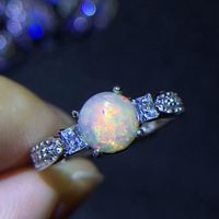 Seckill Big Discount only for 5pcs Natural OPal ring Fashion Ring REAL S925 sterling silver inlaid Natural OPal ring 6mm