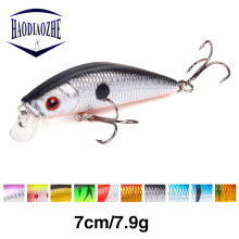 Купить с кэшбэком HAODIAOZHE 70mm 8g Minnow Fishing Lure Crankbait Wobblers 3D Eyes Artificial Plastic Hard Crank Bait Peche Fishing Tackle YU9