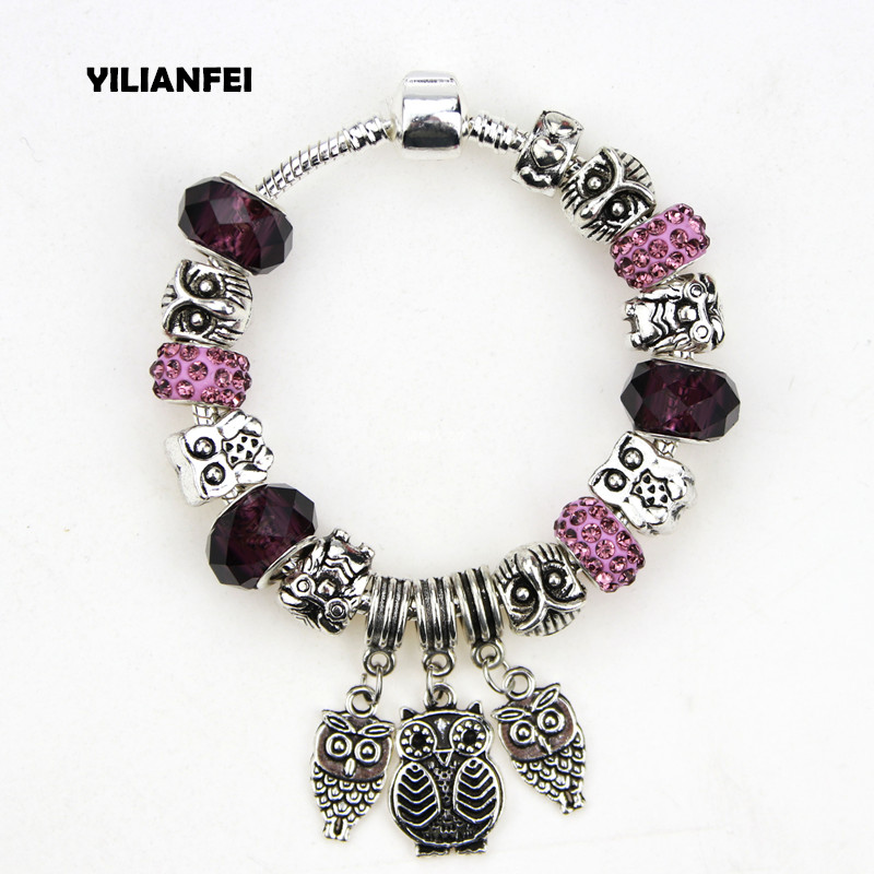 YILIANFEI The West Vintage Crystal/Glass Beads Antique Silver Plating Owl Charm Pandora Bracelets & Bangles For Women BT0015