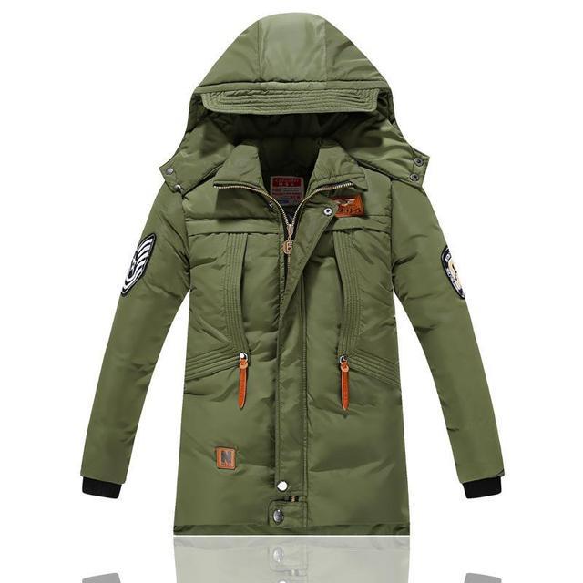 -30 grados de chaquetas de invierno para niños de algodón acolchado ropa de los niños 2016 chicos grandes cálido invierno abajo engrosamiento capa prendas de vestir exteriores