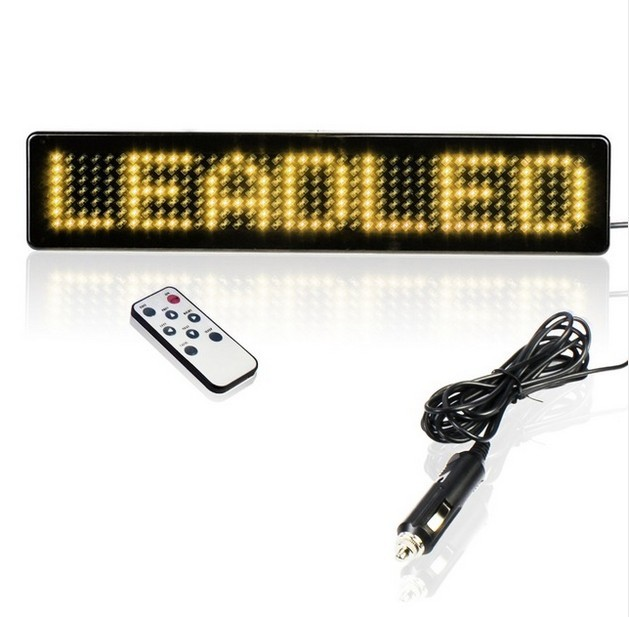 O Envio Gratuito de Rolagem Amarelo Carta Janela Traseira Do Carro Levou Sinal de Mensagem Programável Levou Exibição Carro de Controle Remoto