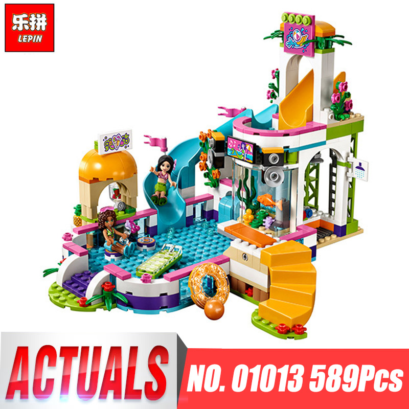 01013 Girls club Heartlake Summer Pool Educational model Building block kit Brick Compatible legoing 41313 friends kid gift set lepin building blocks model 01013 compatible legoing friends summer swimming pool 41313 educational toys for children