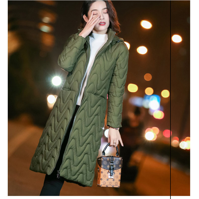 Winter Plus Size 3XL Womens Down Cotton Jackets Ultra Light hoodie Autumn warm   Parkas   Long Jacket Female A line Outerwear
