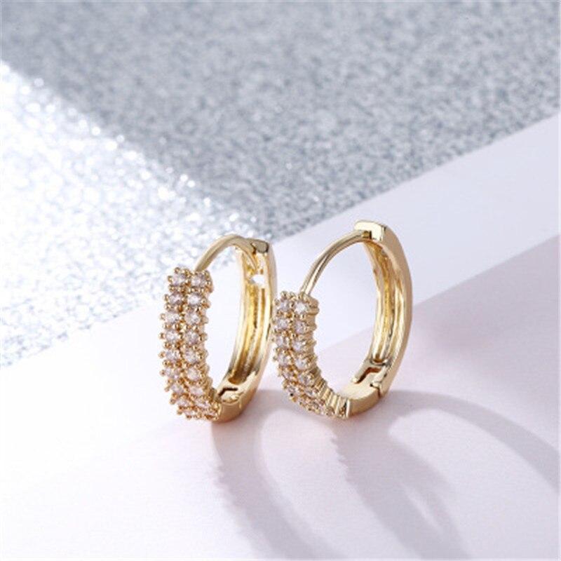 Double Row Fashion Shiny Zircon Earrings AAA Zircon Earring For Women  Jewelry Dropshipping Gold Color