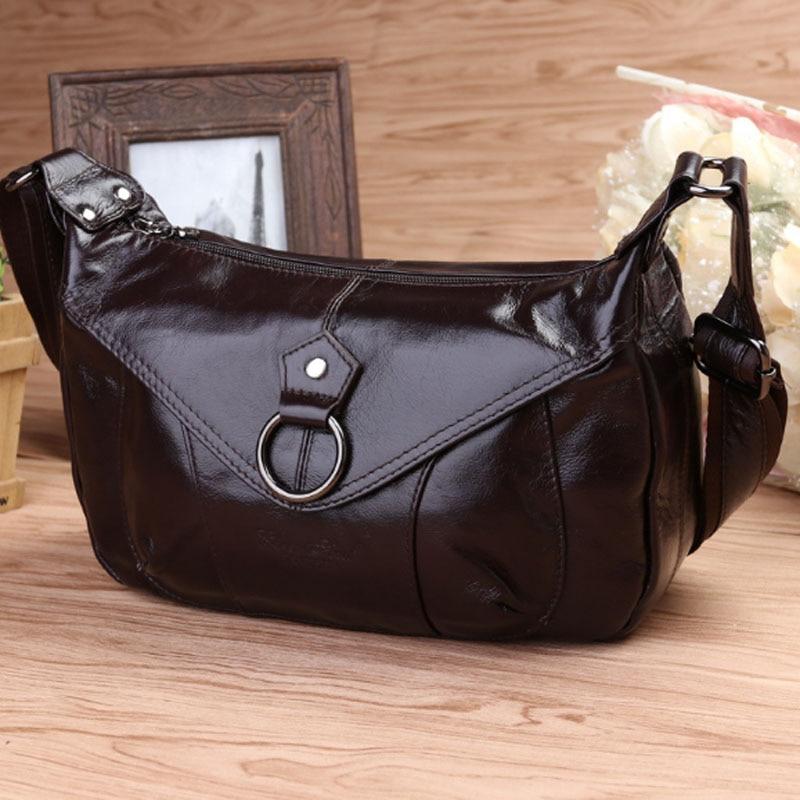 Femmes en cuir véritable fronde sac à bandoulière de mode marque tendance dames décontracté croix corps Hobo sacoche marque Messenger sacs