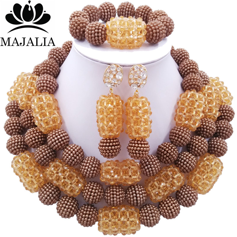 Majalia Fashion Charming Nigerian Wedding African Jewelry Set Brown and Champagne Crystal Necklace Bride Jewelry Sets 3SZ090Majalia Fashion Charming Nigerian Wedding African Jewelry Set Brown and Champagne Crystal Necklace Bride Jewelry Sets 3SZ090