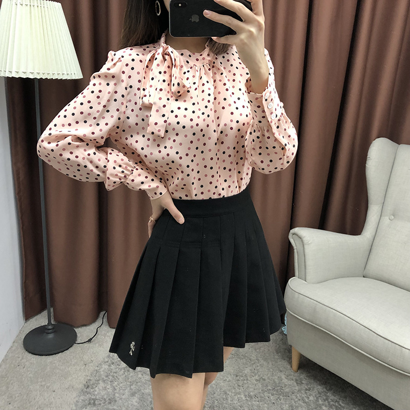 Imprimer Femmes Bow Chemises Manches Printemps 2019 Longues See Nouvelle En Porter Office De Points Mousseline Chart Collier Chemisier Soie Stand Lady 100 À Tie Tops rose FFqx0aw