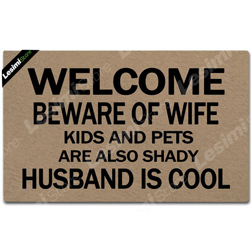 Doormat Entrance Floor Mat Funny Doormat Indoor Outdoor Kitchen Decor Doormat Non-slip Welcome Beware of Wife Husband is Cool image