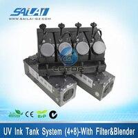 УФ вспомогательный бак для чернил системы 4 + 8 с фильтром блендер для большой Ультрафиолетовый принтер