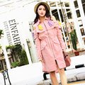2017 new  spring tide brand  doll Strapless pink coat girls long sleeved slim women trench