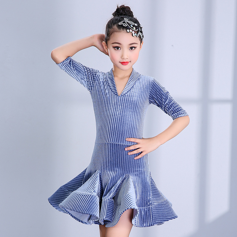 Svitania danse latine robe filles enfants Spandex danse jupe Samba ChaCha Salsa robes scène Dancewear cordon S-2XL
