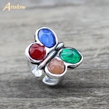Anslow Brand Fashion Jewelry Trendy Colorful Butterfly Elegant Women Rings For Party Wedding Engagement Female Ring LOW0011AR