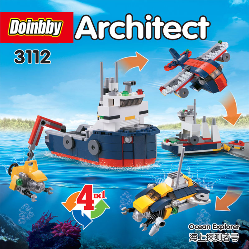 Rational Decool 3112 City 213pcs Creator Changed 4 In 1 Ocean Explorer Submarine Plane Building Block Toys Educational Kids Gifts In Many Styles Blocks Toys & Hobbies