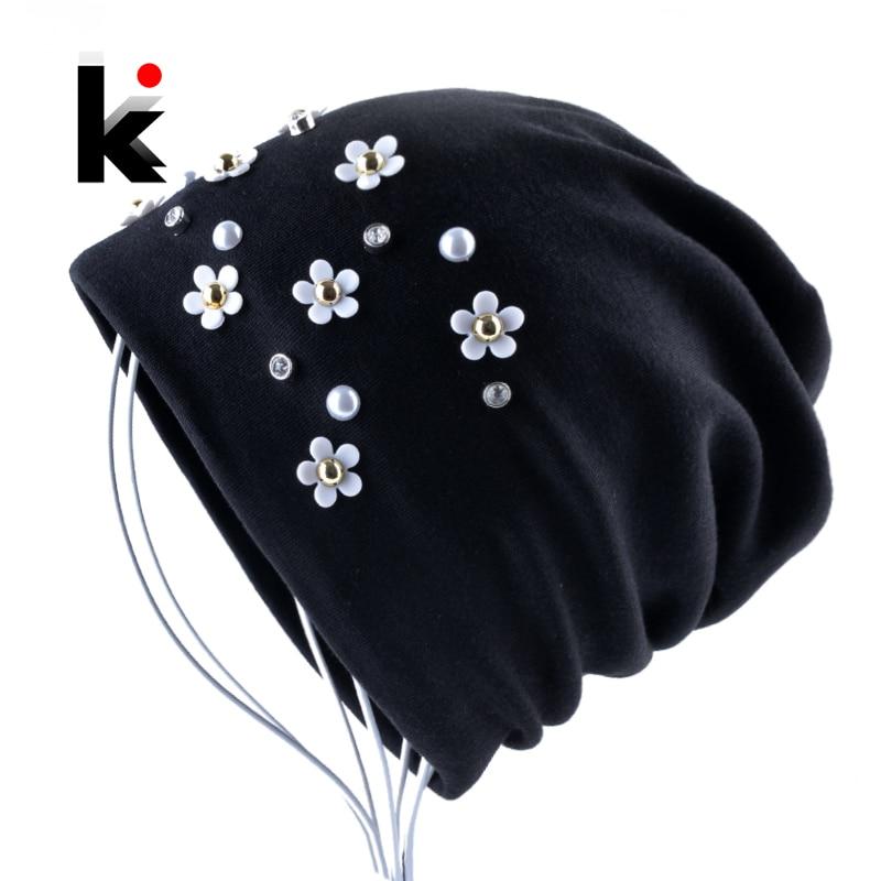 New Fashion Beanie Hat Solid Color Peal Rhinestone Flower Skullies Beanies Women Autumn Winter Female Bonnet Cap Chapeu Feminino
