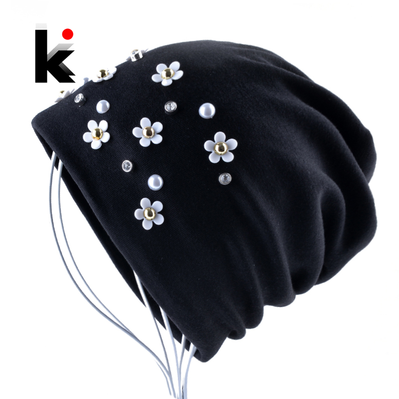 New Fashion   Beanie   Hat Solid Color Peal Rhinestone Flower   Skullies     Beanies   Women Autumn Winter Female Bonnet Cap Chapeu Feminino