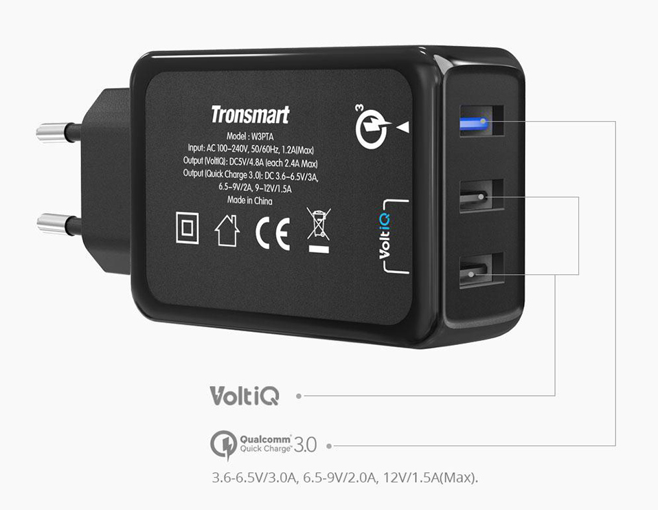 [3 Ports] Tronsmart W3PTA Quick Charge 3.0 USB Charger with VoltiQ Tech for Xiaomi for LG G5 Fast Phone Charger Adapter EU US UK 3