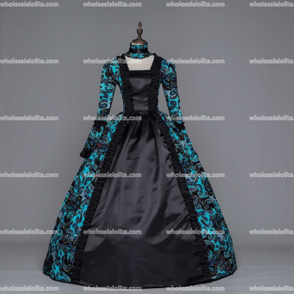 Southern Belle Ball Gown Dress Reenactment Clothing Medieval Marie Antoinette Princess Costume Blue and Black Large Plus Size
