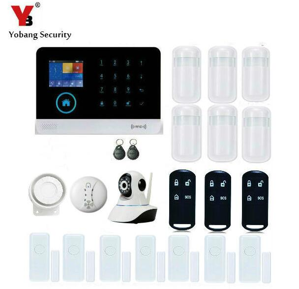 Yobang безопасности беспроводная GSM wifi SMS сигнализация умные датчики двери детектор дыма сетевая камера противоугонное Обнаружение движения