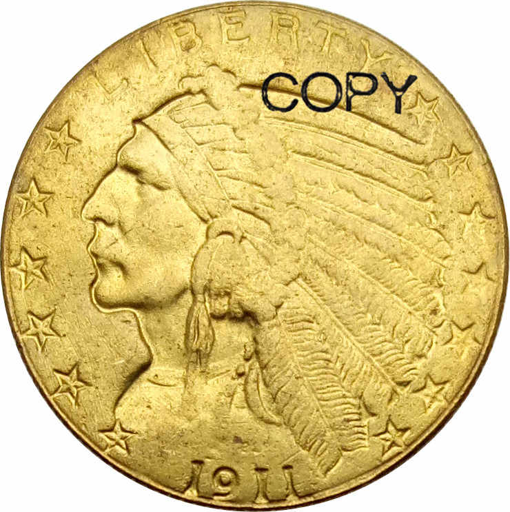Estados unidos Indian Head Cinco Dólares de Ouro 1911 Moedas Cópia de Bronze