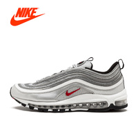 2018 Original Nike Air Max 97 OG Gold and Silver Bullet Running Shoes for Women Outdoor Winter Athletic Breathable gym Shoes