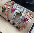 High quality New Designer Luxury Fashion 925 sterling silver AAA CZ Green/red stone Snake cuff bangles bracelets for women