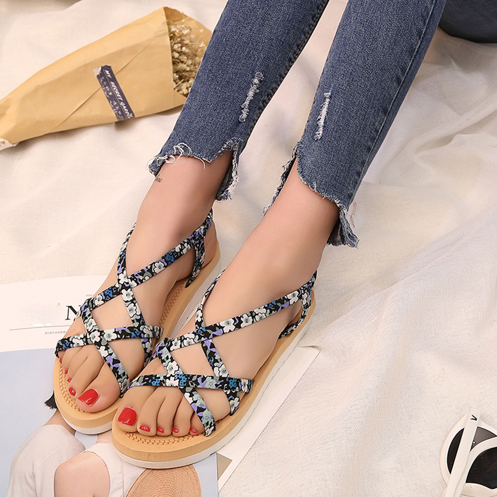 2017 Hot Sale Summer Fashion Women Casual Beach Sandals String Bands Flat Roman Shoes Ladies Flip Flops Footwear Leather Female 2017 new arrival hot sale fashion summer sweet women flats heel sandals casual buckle strap roman sandals flat flat women shoes