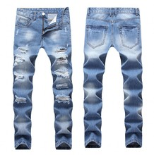 2018 Designer Men's Ripped Jeans Pants Slim Fit Light Blue Denim Joggers Male Distressed Destroyed Trousers Button Fly Pants