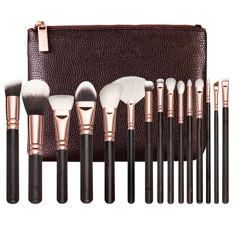 Кисти для макияжа, искусственная кожа, женская сумка на молнии, Профессиональная Кисть для макияжа, инструменты для макияжа, 15piece1set