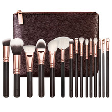 Make-up pinsel PU leder frauen zip handtasche professionelle make-up pinsel make-up-tools 15piece1set(China)