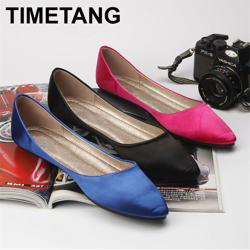 TIMETANG women shoes Silks and satins series shallow mouth brief flat heel shoes formal dress banquet all-match pointed toe C156 2017 korean women shoes pointed toe shallow mouth flat heel buckle hollow pearls lady fashion flats women summer sandals 35 39