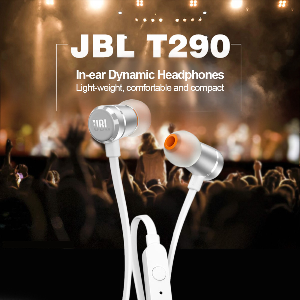 JBL T290 3.5mm Wired Earphones Stereo Music Sports Pure Bass Headset 1-Button Remote Handsfree Call with Mic for iPhone Android