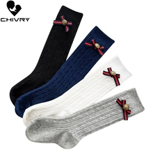 Chivry 4 Pairs/lot Newborn Infant Baby Girl Knee Stocking Cotton Breathable Summer Solid Cute Bowknot Twist Long Stockings