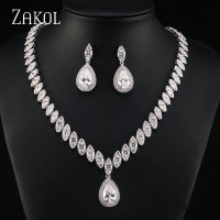 ZAKOL Brand Trendy Water Drop Cubic Zirconia Earrings Necklace Set for Women Luxury Crystal Bridal Wedding Jewelry Sets FSSP057