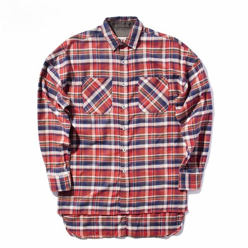 HZIJUE New bieber flannel Scotland grid long sleeve shirts Hip hop extended curved hem oversized Men