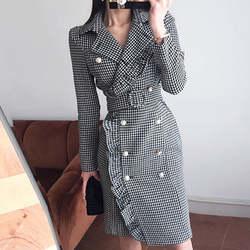 Блейзер Feminino ограниченной 2018 Осень Новая мода двубортный грибок талии Тонкий плед длинный костюм женский пиджак пальто