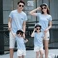 Бесплатная Доставка Семья соответствующие наряды лето семья посмотрите одежду спортивные Мальчики Девочки семья Модальные Slub cottonT рубашки Брюки наборы
