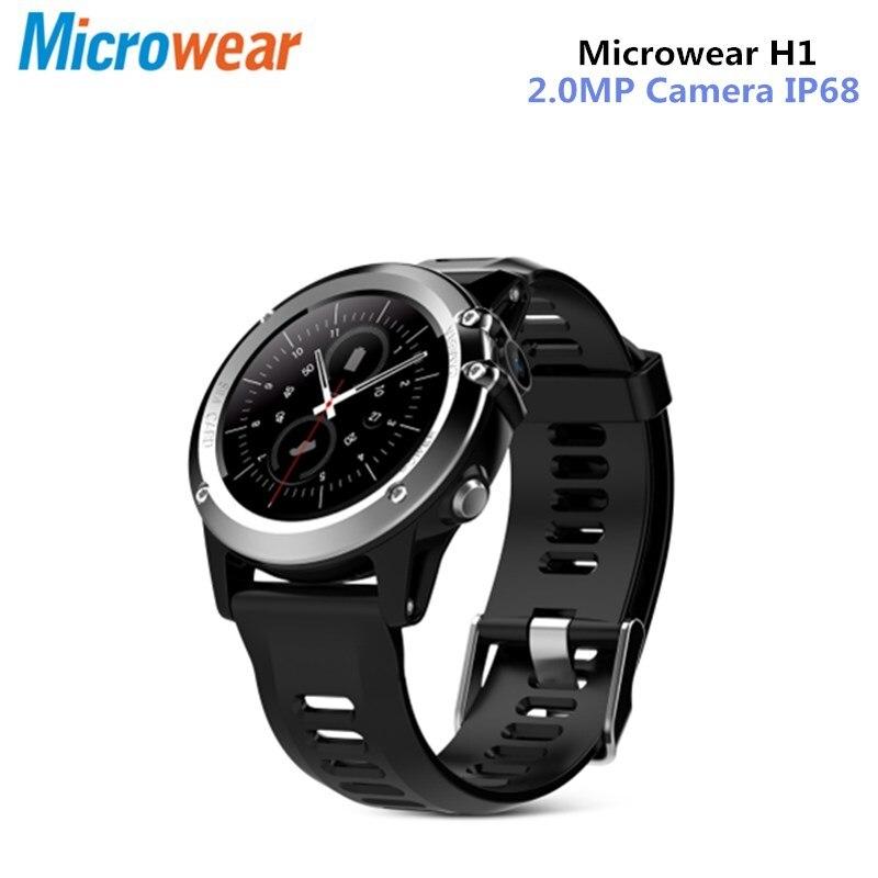 Microwear H1 3g Smartwatch телефон 1,39 дюймов Android 4,4 MTK6572 Dual Core 1,2 ГГц 4 ГБ Встроенная память IP68 Водонепроницаемый 2.0MP камера шагомер