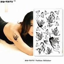 Nu-TATY Body Art Black Butterfly Fairy Temporary Body Art Flash Tattoo Sticker 10x17cm Waterproof Henna Fake Tatoo Wall Tattoo