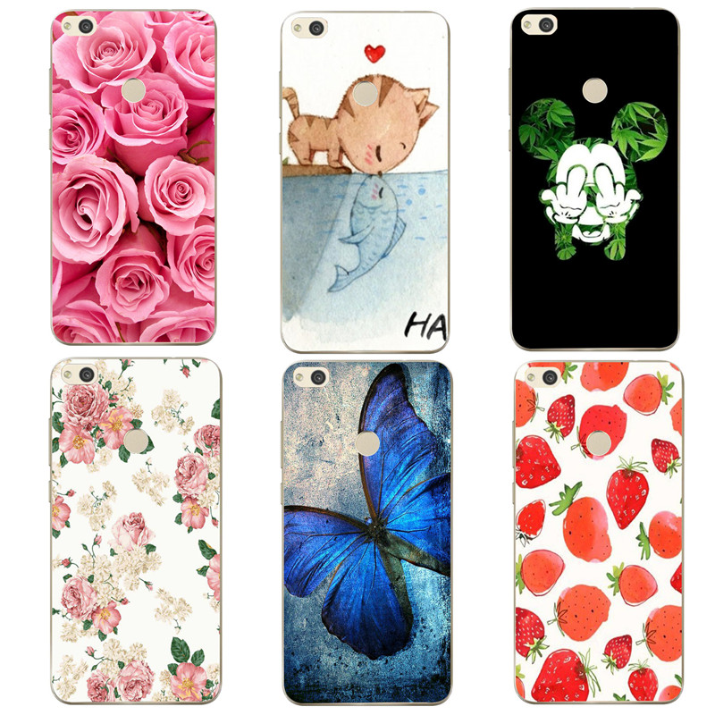 Flower Floral Printed Shell For Huawei p8 lite 2017 Case Cover Silicone Soft Phone Bags Capa For Huawei p8 p9 p10 lite Cute Cat