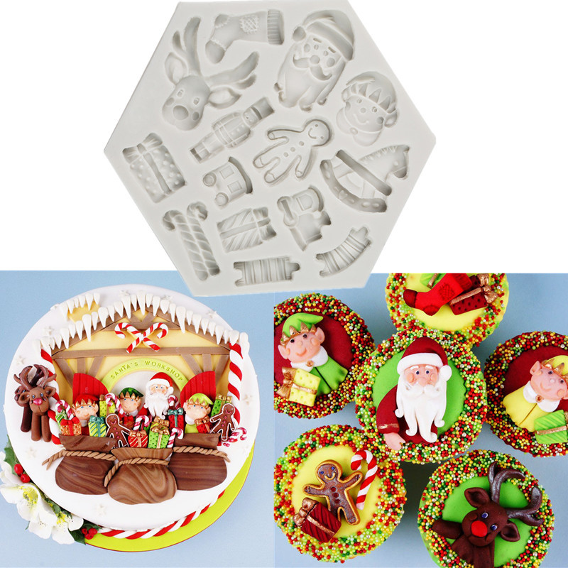 Us 6 78 36 Off 1pc Silicone Kitchen Tools 3d Christmas Gingerbread Man Santa Claus Reindeer Xmas Party Cookie Mold Elf Cake Mold In Cake Molds From