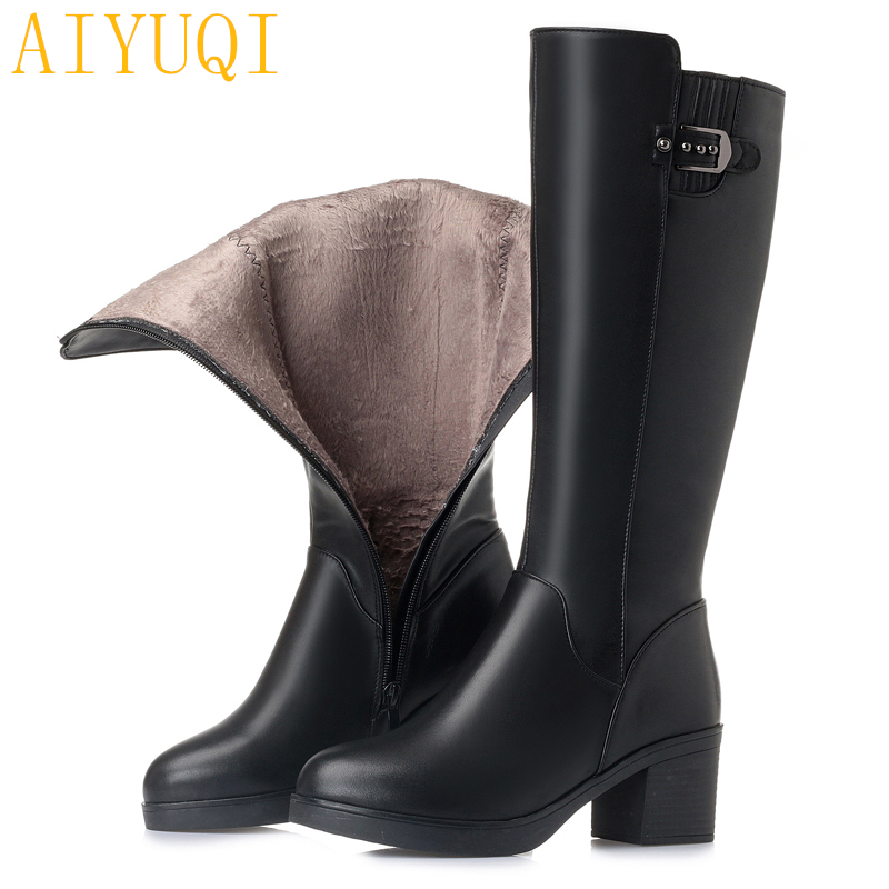 AIYUQI Women long boots 2018 new genuine leather female winter boots, big size 35-43 fashion warm thick boots women shoes aiyuqi big size 41 42 43 women s comfortable shoes 2018 new spring leather shoes dress professional work mother shoes women