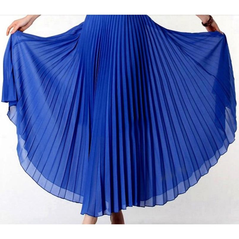 Anasunmoon Maxi Skirts Tutu Pleated Chiffon Bohemian Black Elegant High-Waist Solid-Color