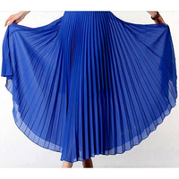 New 2016 Spring Bohemian Pleated Maxi Skirts Womens Summer Solid Color High Waist Chiffon Long Skirt