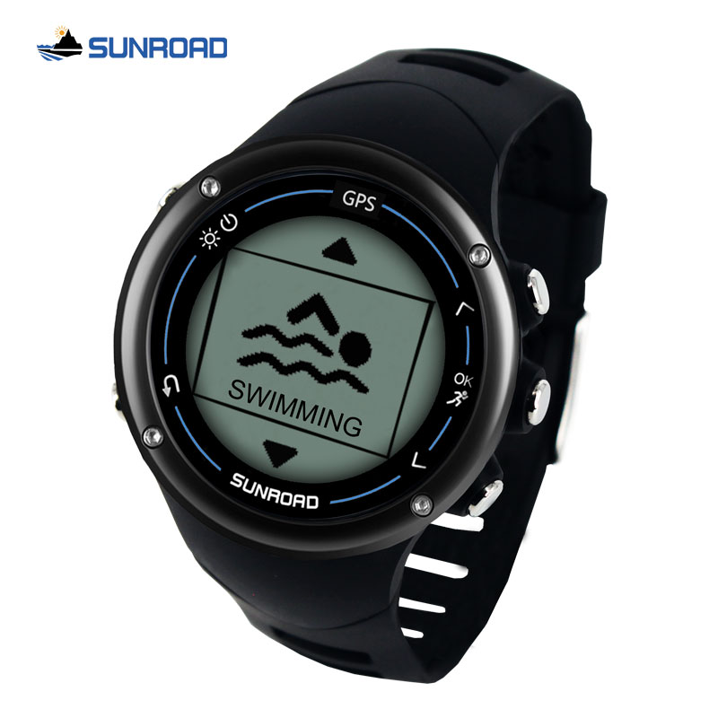Sunroad GPS Smart Men Digital Watch Running Sport Swim Heart Rate Marathon Triathlon Training Compass Waterproof Watch
