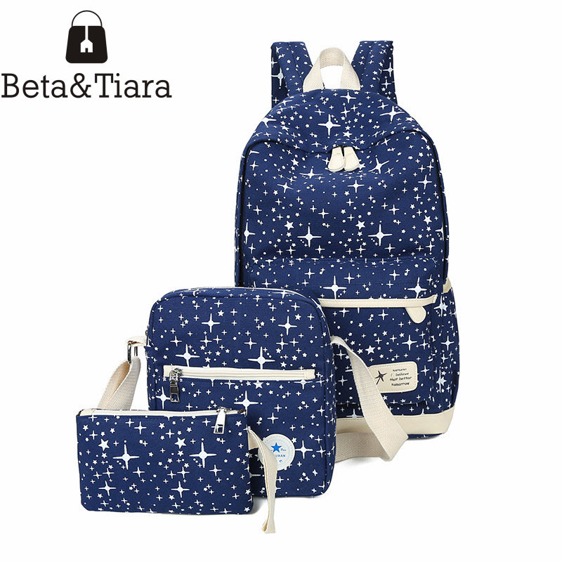 New girls backpack bags for school teenager girl canvas travel backpack star printing student bag plecak szkolny sac a dos 3pcs harajuku style ice cream printing backpack high middle school student shoulder bag backpack for teenager girls casual travel bag