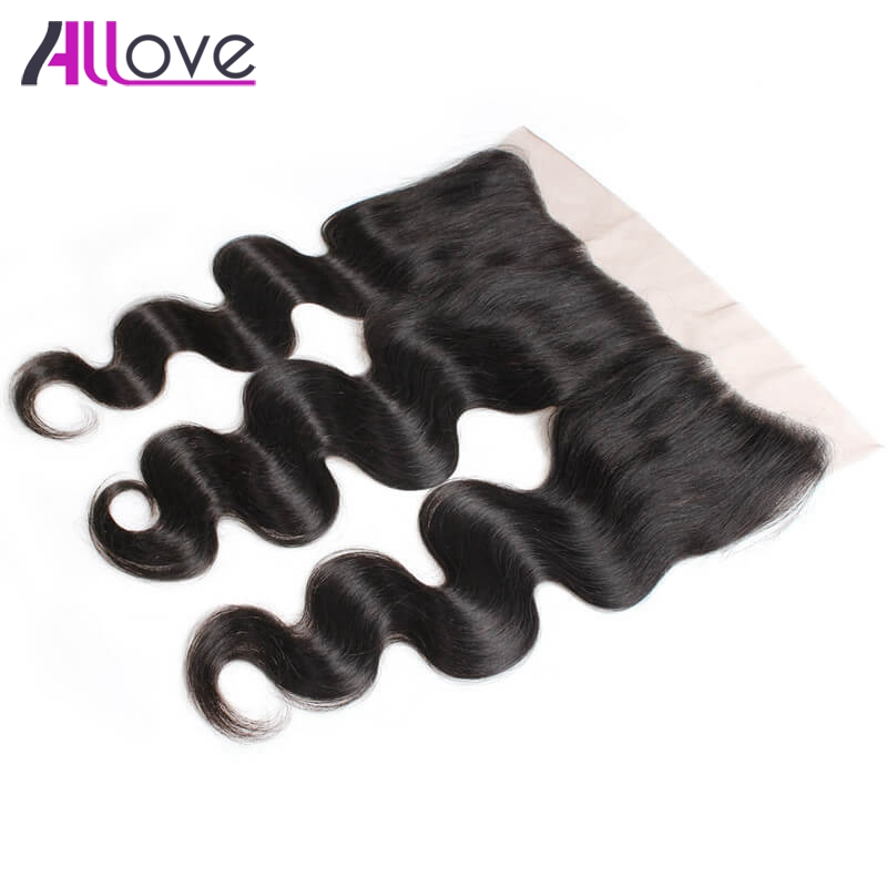 Allove Human Hair Frontal Malaysian Body Wave Lace Closure Remy Hair Extensions Free Part Ear To