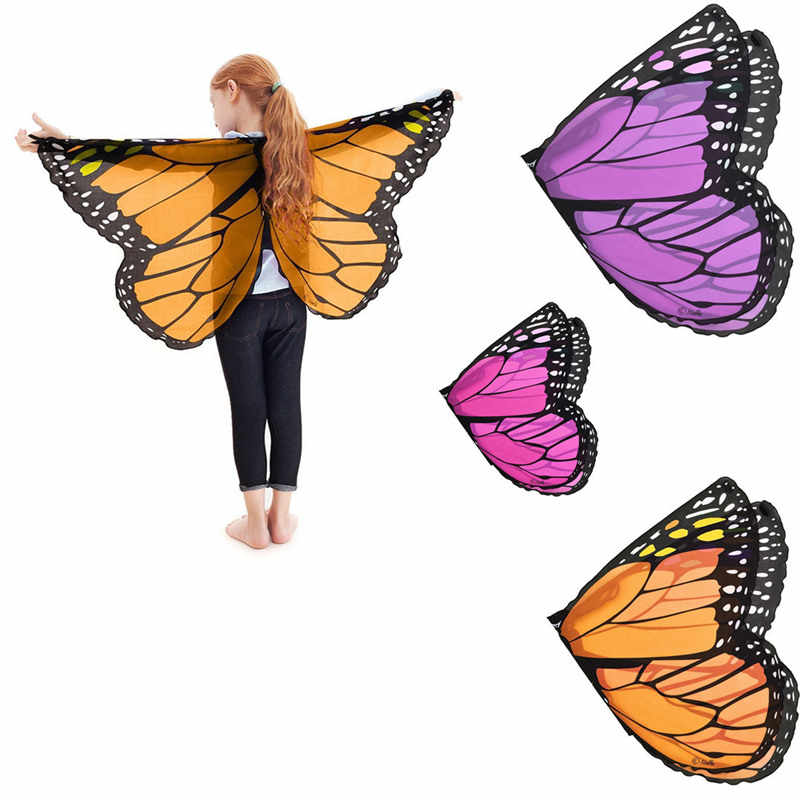 Fairy tale princess cosplay costume Butterfly Wings Shawl Cape Stole Kids Boys Girls  Scarf Wrap accessories